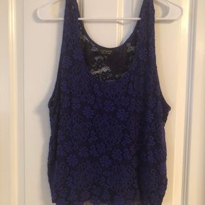 Topshop Blue and Black Lace Tank